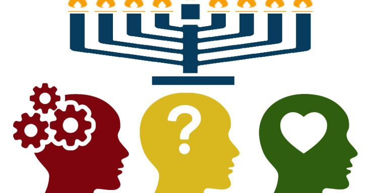 A menorah over three heads, each representing a different mode of learning