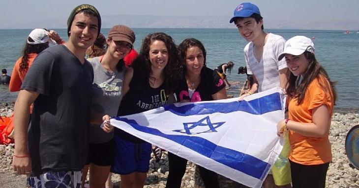 Teens holding Israeli flag