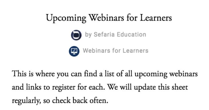 Upcoming Sefaria Webinars for Learners