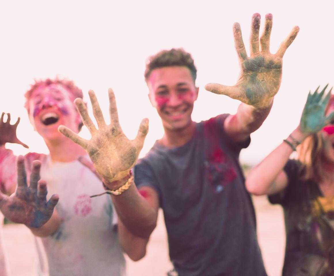 Teens with Paint on Hands