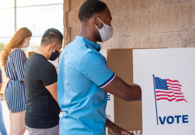 Young people voting at an election polling place