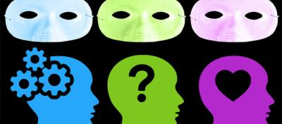 Masks over different colored heads with symbols