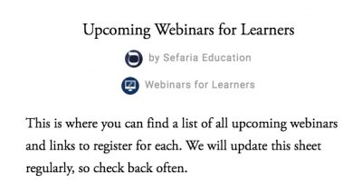 Upcoming Sefaria Webinars for Learners